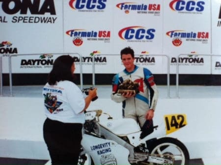 Barrett Long on the podium for the Daytona 200